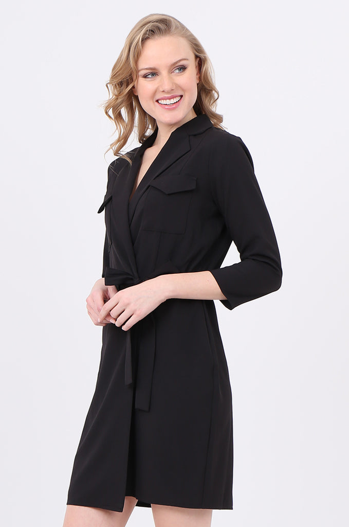 SOY2245-BLACK COLLARED TIE BELT WRAP DRESS view 3