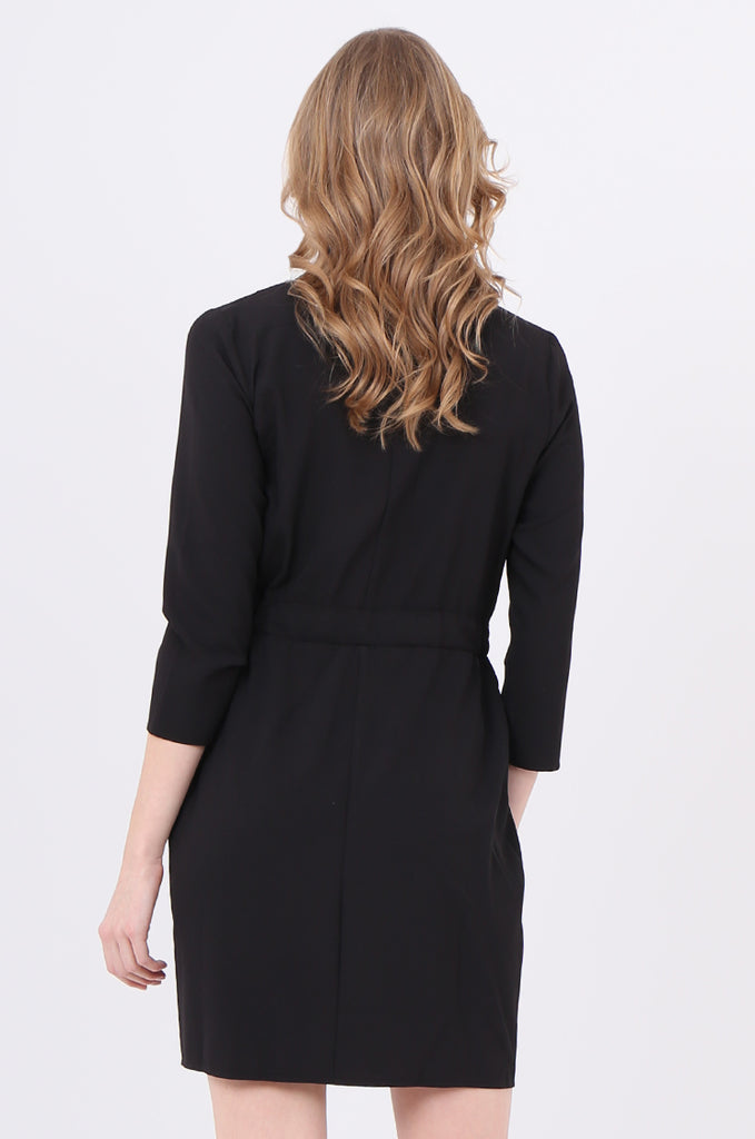 SOY2245-BLACK COLLARED TIE BELT WRAP DRESS view 4