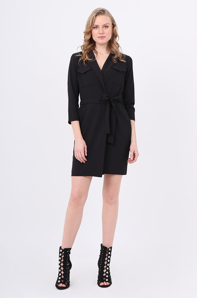 SOY2245-BLACK COLLARED TIE BELT WRAP DRESS view main view
