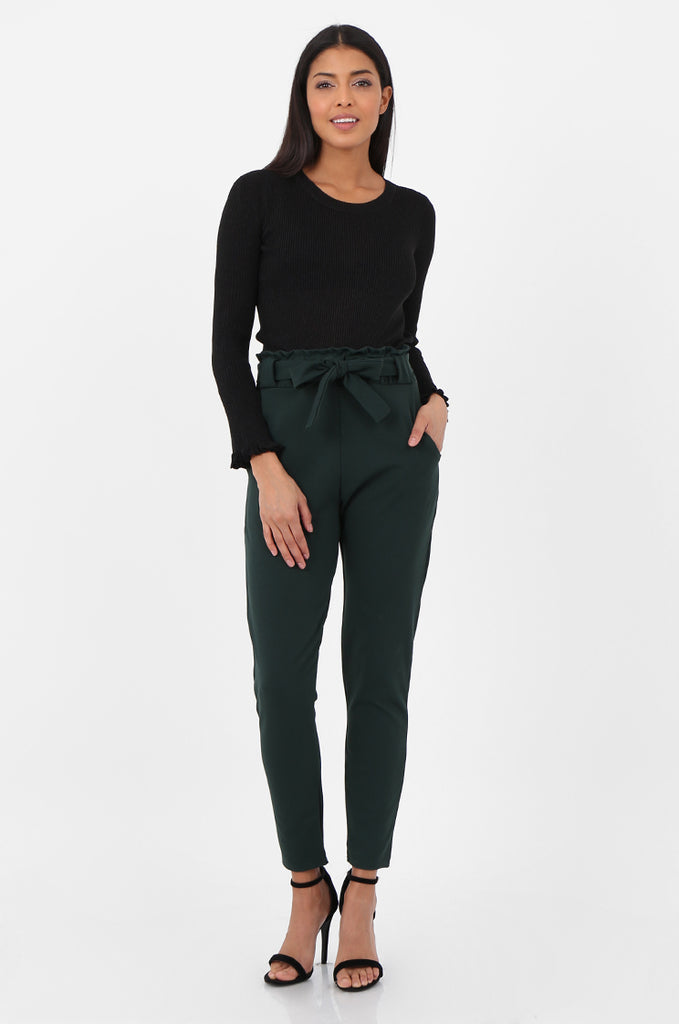SOY2294-GREEN PAPERBAG WAIST TAPERED TROUSERS