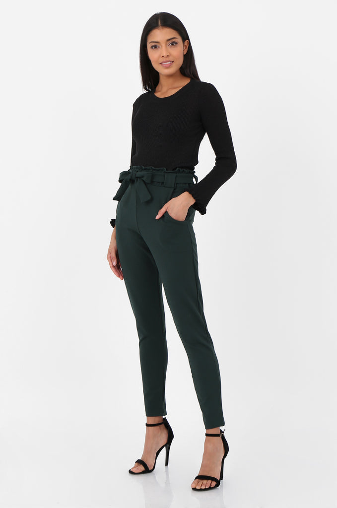 SOY2294-GREEN PAPERBAG WAIST TAPERED TROUSERS view 2