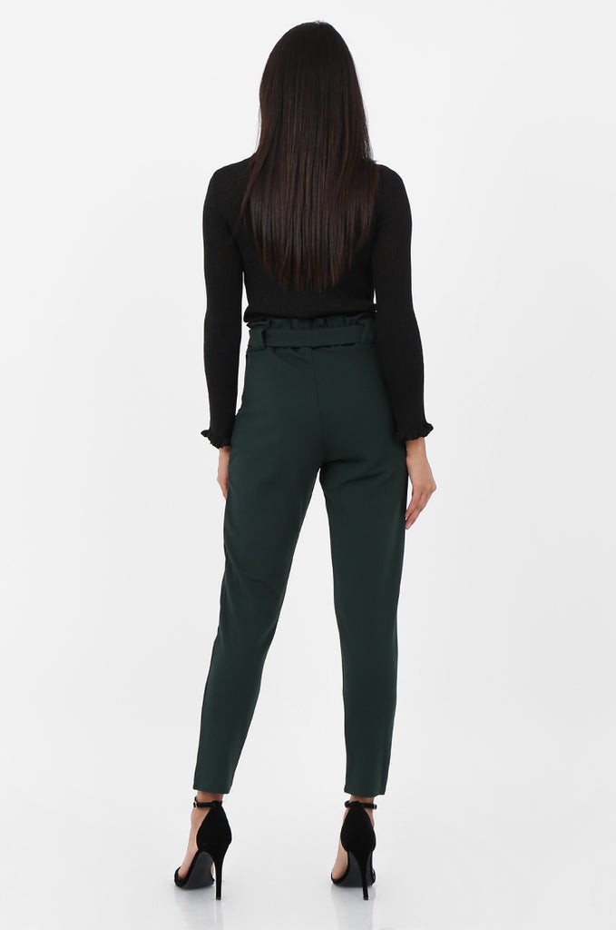 SOY2294-GREEN PAPERBAG WAIST TAPERED TROUSERS view 3