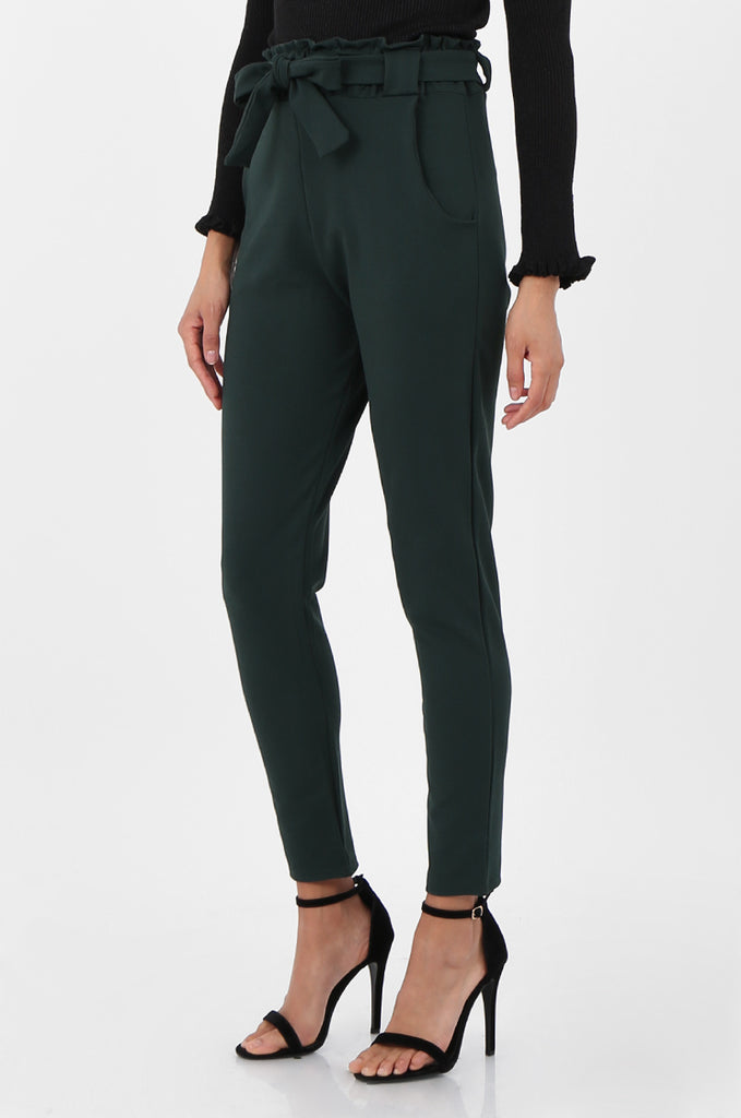 SOY2294-GREEN PAPERBAG WAIST TAPERED TROUSERS view 4
