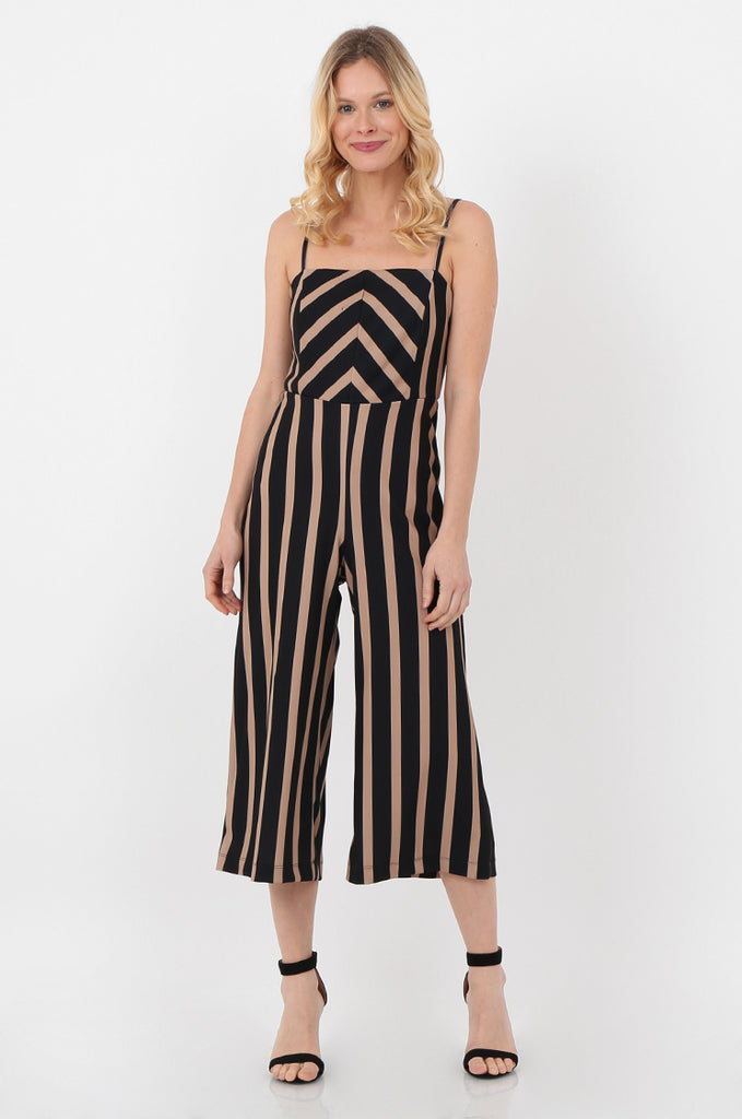 SOY2443-NAVY & STONE STRIPE THIN STRAP JUMPSUIT