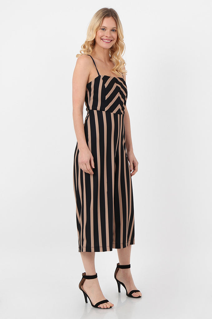 SOY2443-NAVY & STONE STRIPE THIN STRAP JUMPSUIT view 2