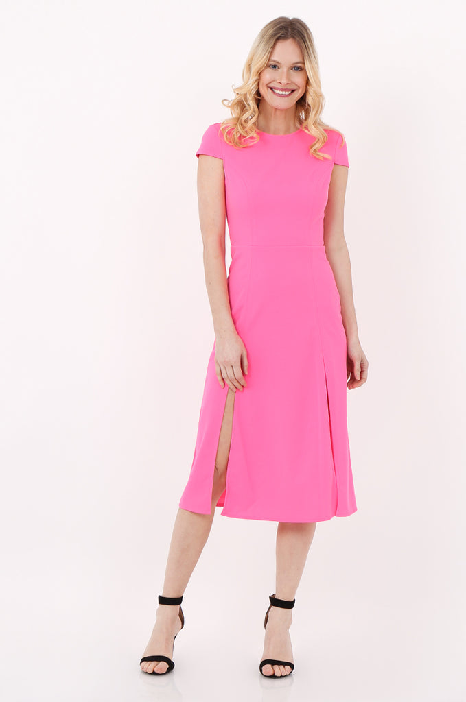 SOY2447-PINK CAP SLEEVE SLIT FRONT DRESS