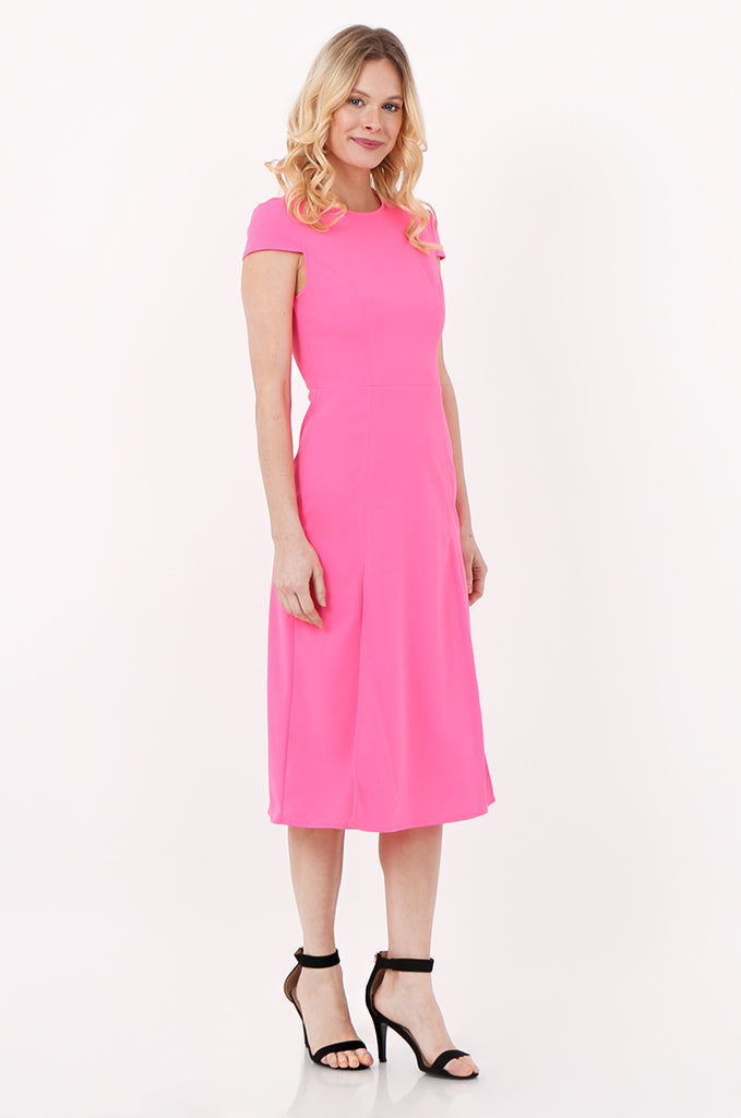SOY2447-PINK CAP SLEEVE SLIT FRONT DRESS view 2
