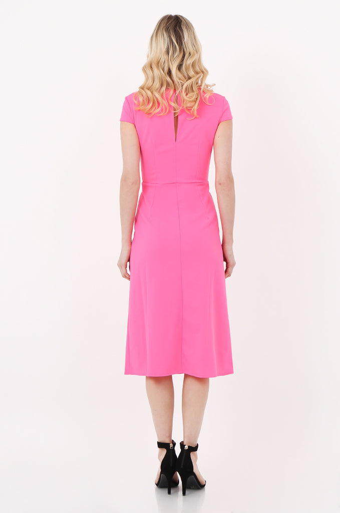 SOY2447-PINK CAP SLEEVE SLIT FRONT DRESS view 3
