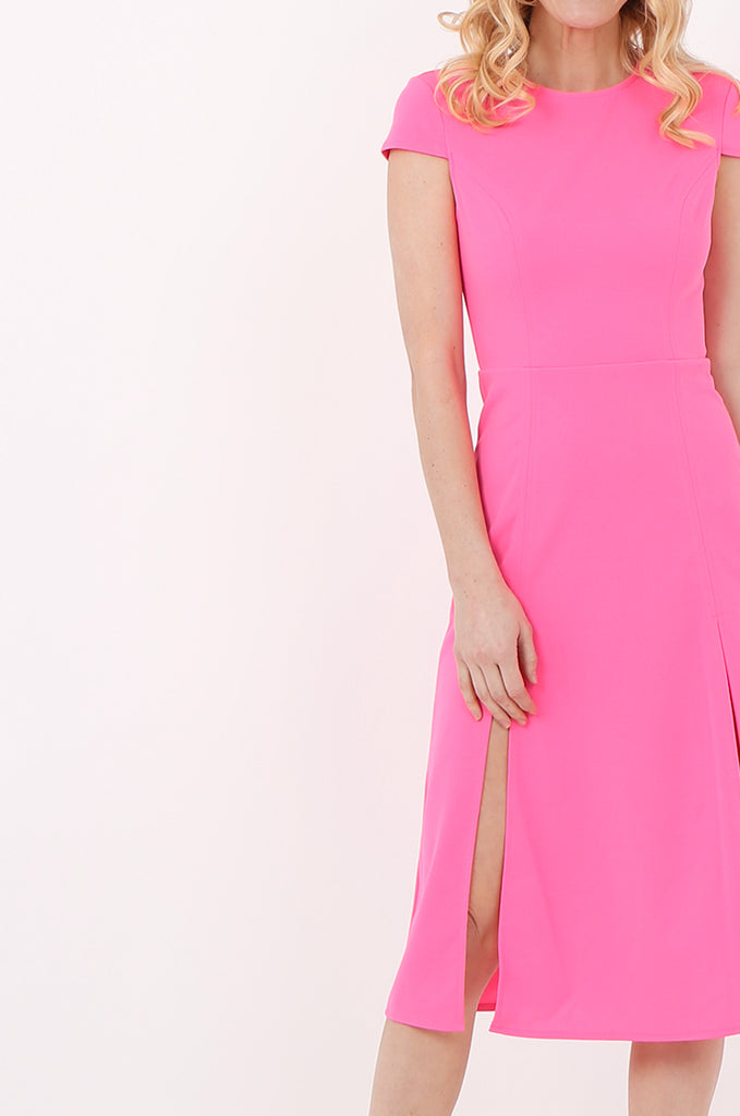 SOY2447-PINK CAP SLEEVE SLIT FRONT DRESS view 4