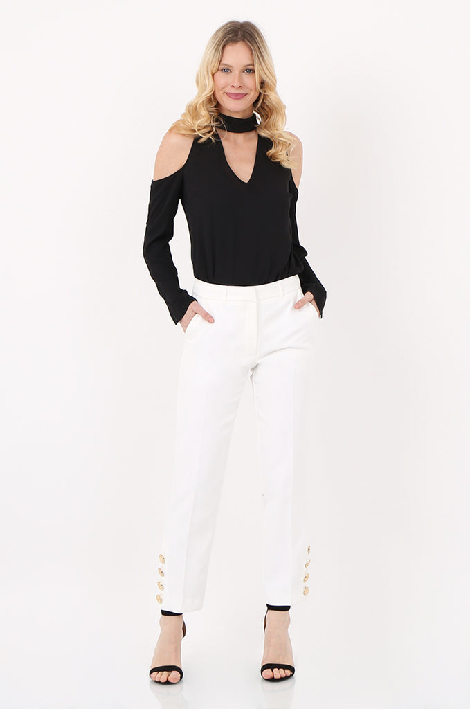 SOY2449-CREAM GOLD BUTTON CUFF TROUSER view main view