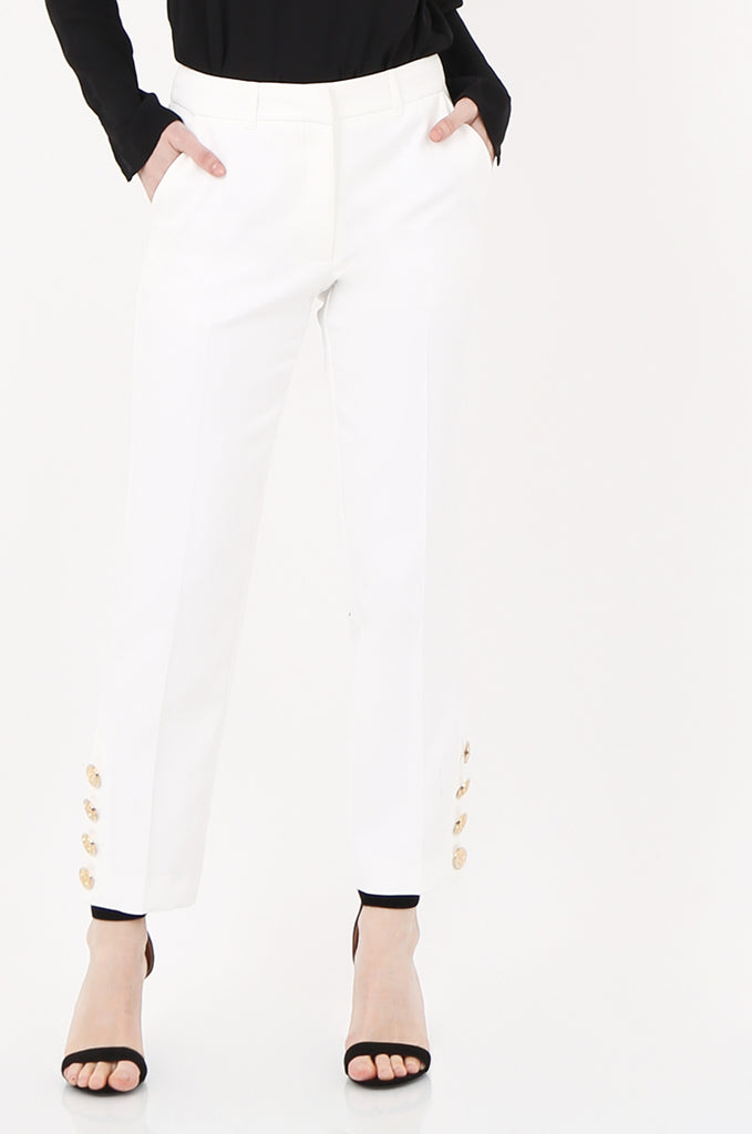 SOY2449-CREAM GOLD BUTTON CUFF TROUSER view 4