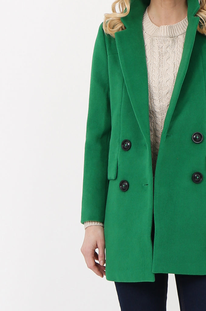 SOY2467-GREEN WOOL DOUBLE BREASTED FLAP POCKET COAT view 5
