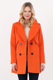 SOY2471-ORANGE WOOL PATCH POCKET DOUBLE BREASTED COAT