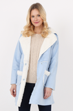 SOY2472-BLUE SHEARLING PATCH POCKET COAT