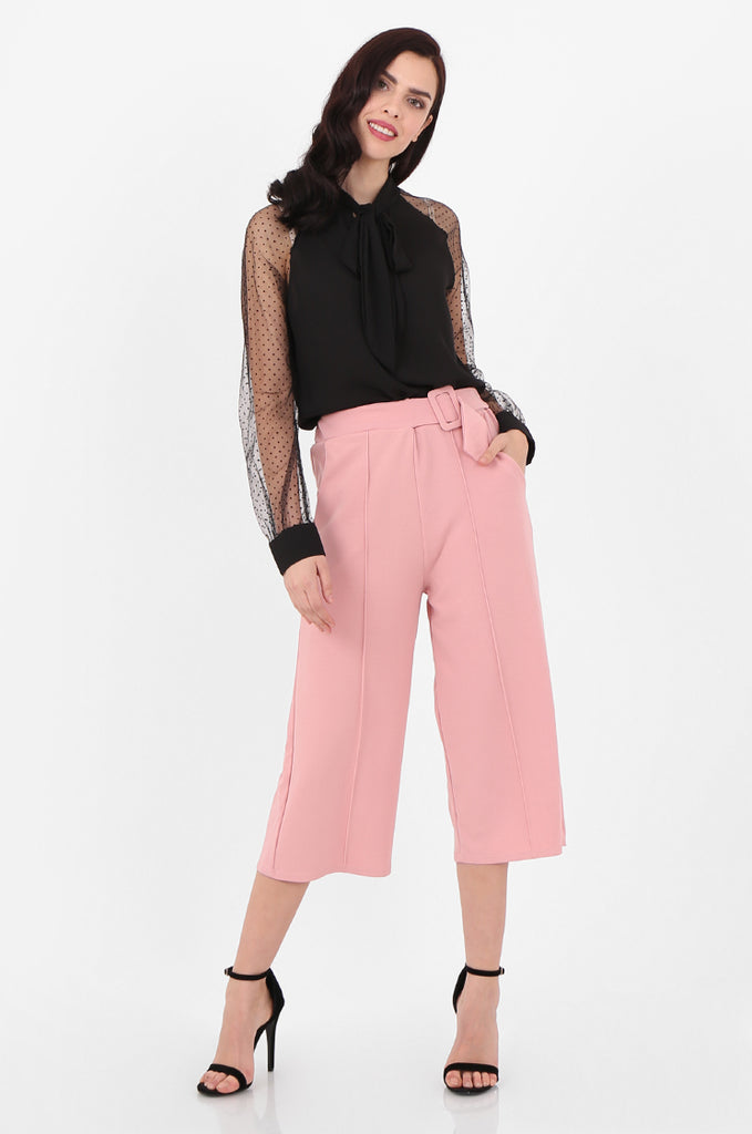 SOY2494-PINK BELTED STRETCH CULOTTES