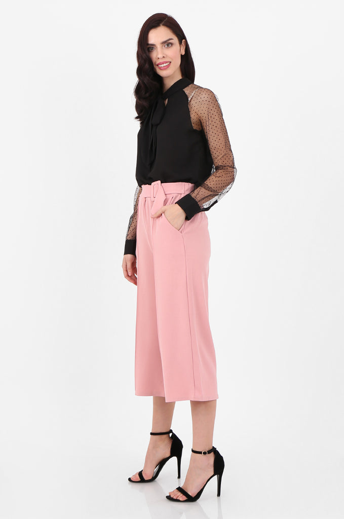 SOY2494-PINK BELTED STRETCH CULOTTES view 2