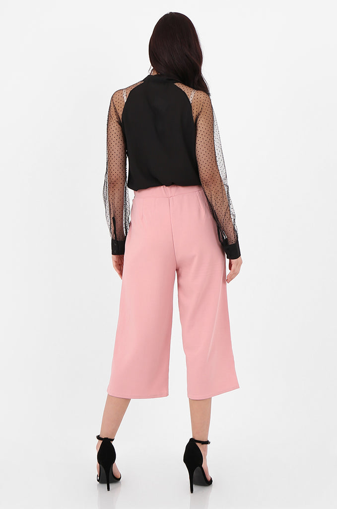 SOY2494-PINK BELTED STRETCH CULOTTES view 3