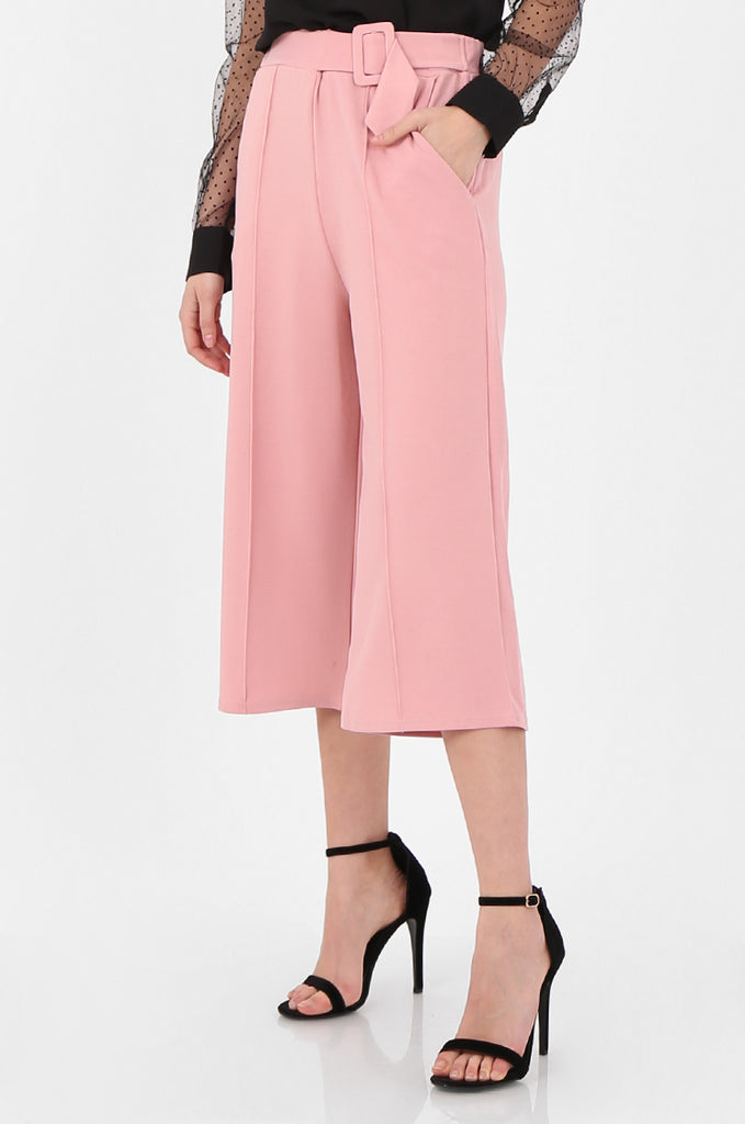 SOY2494-PINK BELTED STRETCH CULOTTES view 4