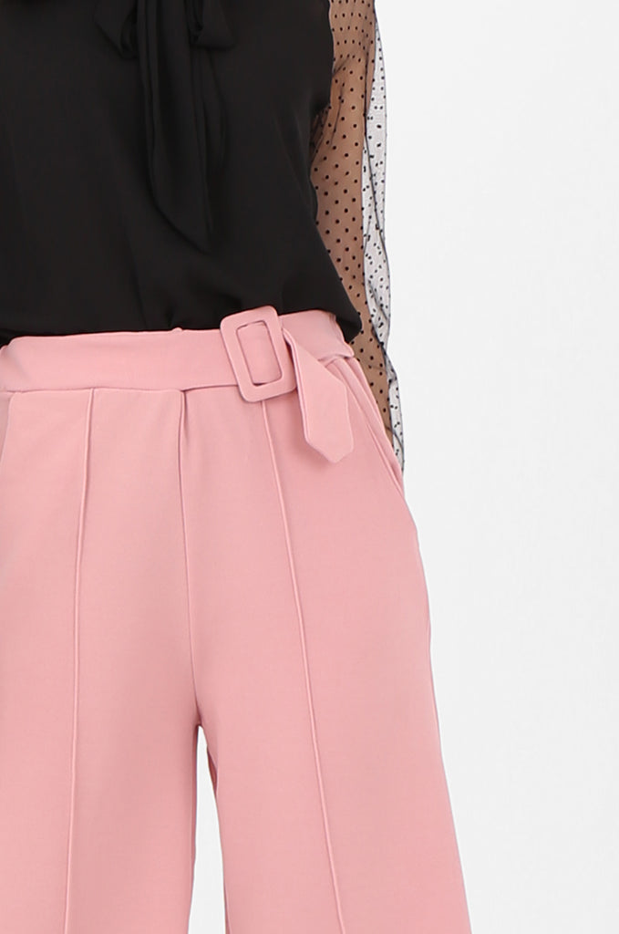 SOY2494-PINK BELTED STRETCH CULOTTES view 5
