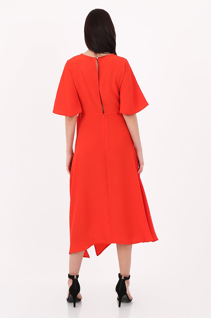 SOY2500-RED FLARE SLEEVE ASYMMETRIC HEM BELTED DRESS view 3
