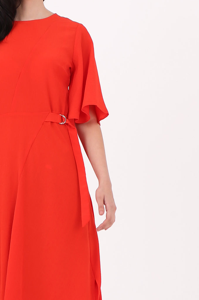 SOY2500-RED FLARE SLEEVE ASYMMETRIC HEM BELTED DRESS view 4