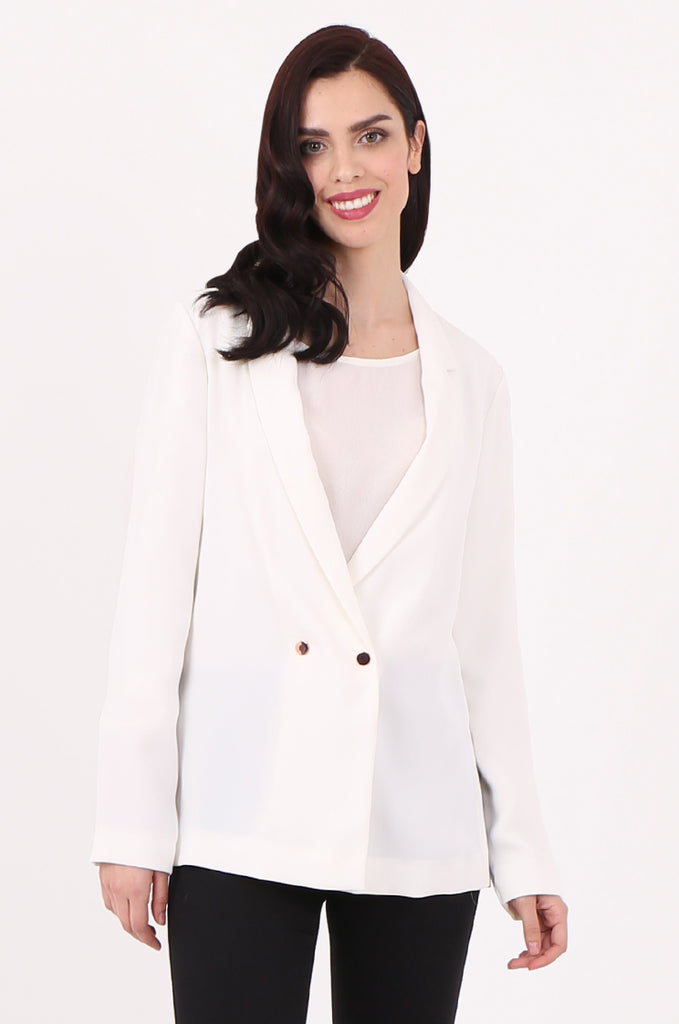 SOY2501-CREAM POPPER BUTTON SLIT SIDE BLAZER