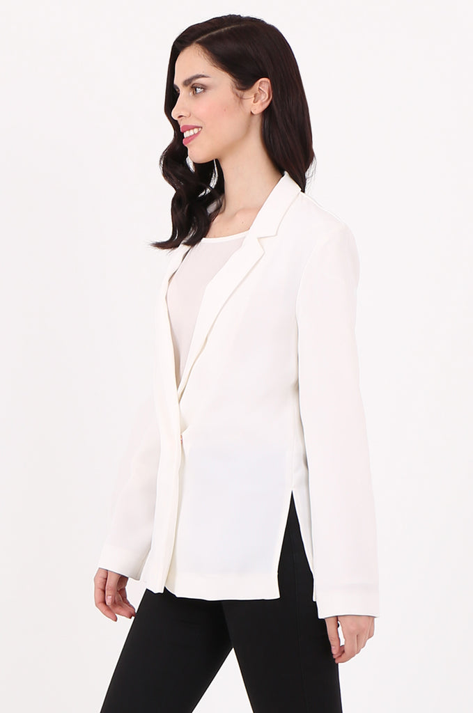 SOY2501-CREAM POPPER BUTTON SLIT SIDE BLAZER view 2