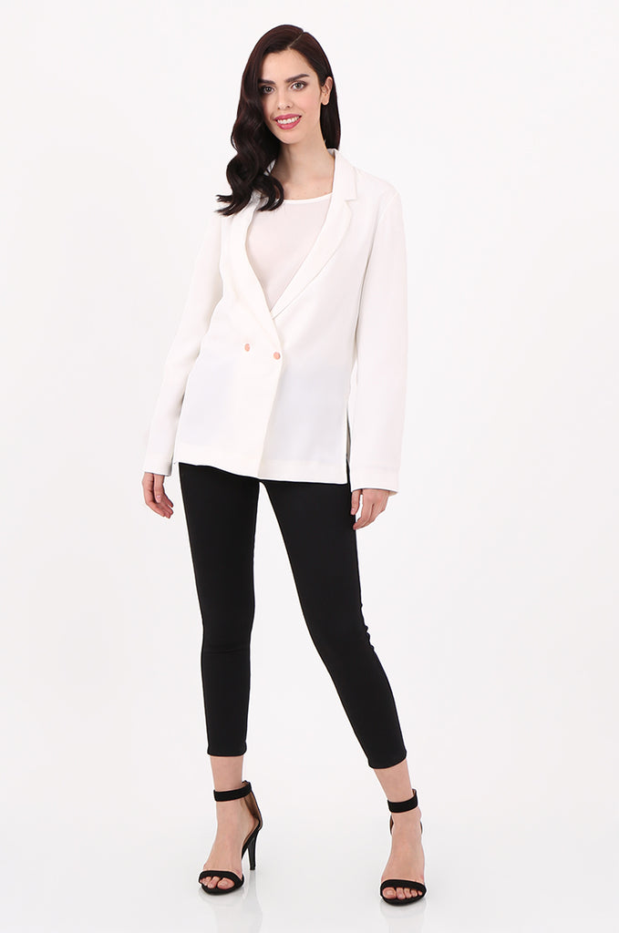 SOY2501-CREAM POPPER BUTTON SLIT SIDE BLAZER view 4
