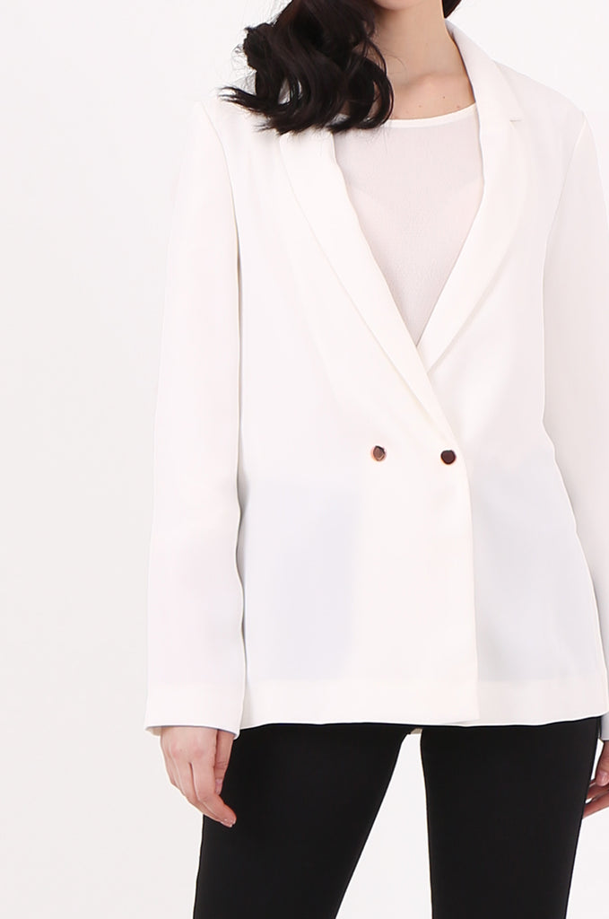SOY2501-CREAM POPPER BUTTON SLIT SIDE BLAZER view 5