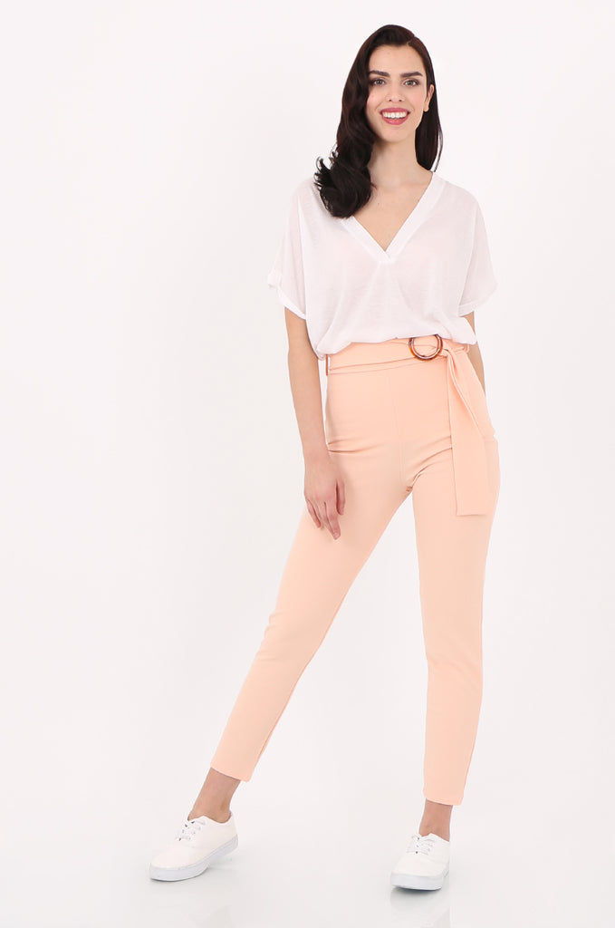 SOY2553-PEACH BELTED CIGARETTE TROUSER