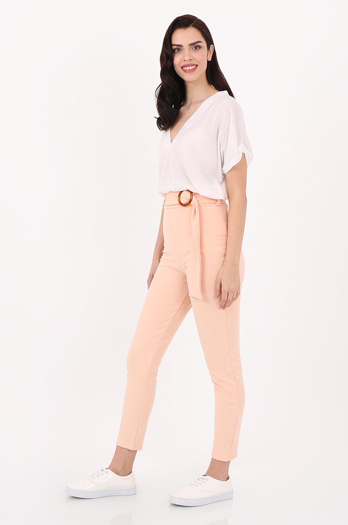 SOY2553-PEACH BELTED CIGARETTE TROUSER view 2