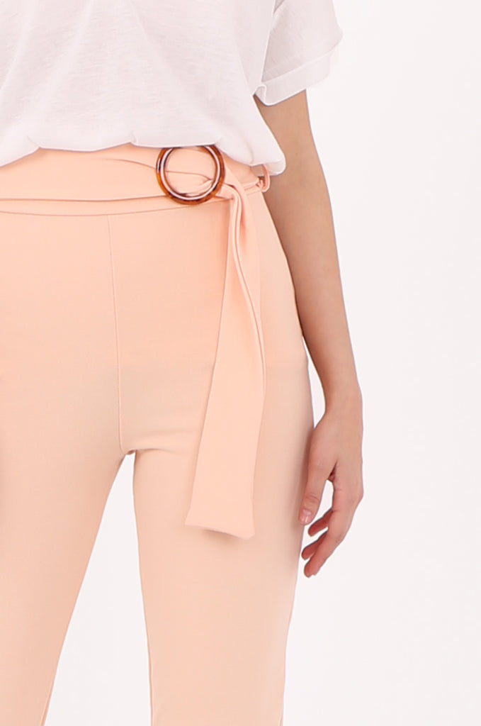SOY2553-PEACH BELTED CIGARETTE TROUSER view 4