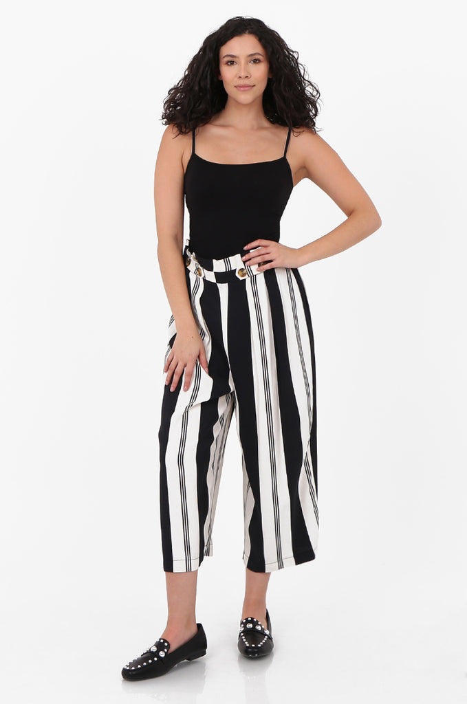 SOY2571-BLACK & CREAM STRIPED BUTTON DETAIL WIDE LEG CULOTTES