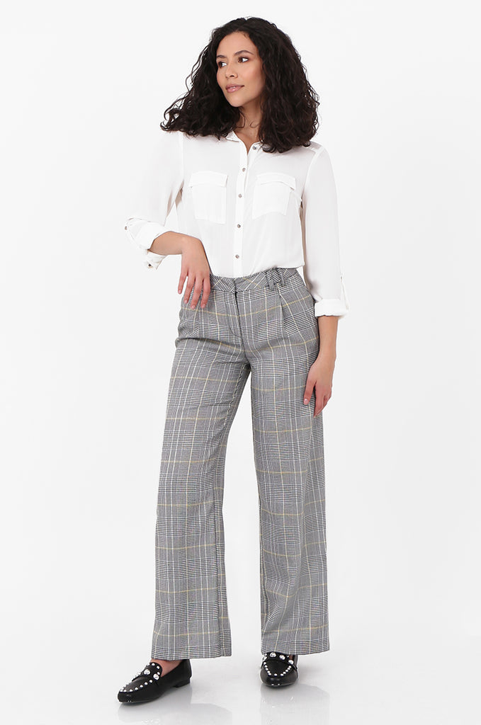 SOY2573-BLACK AND WHITE CHECKED WIDE LEG TROUSER