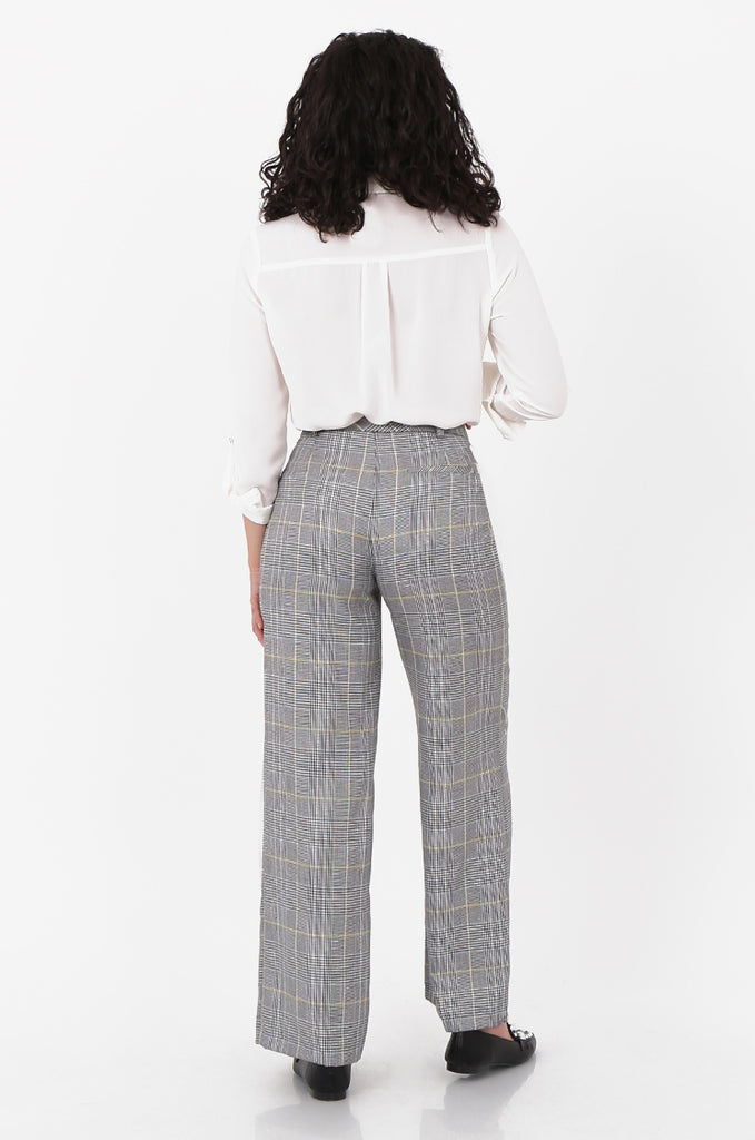 SOY2573-BLACK AND WHITE CHECKED WIDE LEG TROUSER view 3