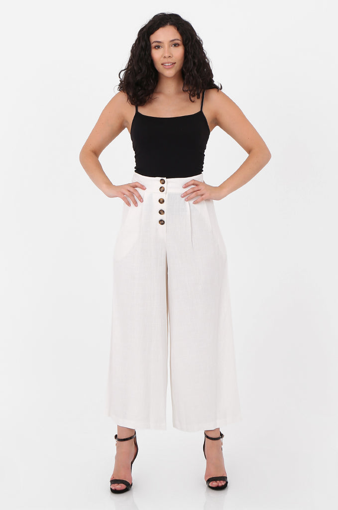 SOY2575-CREAM LINEN BLEND BUTTON FLY WIDE LEG TROUSERS