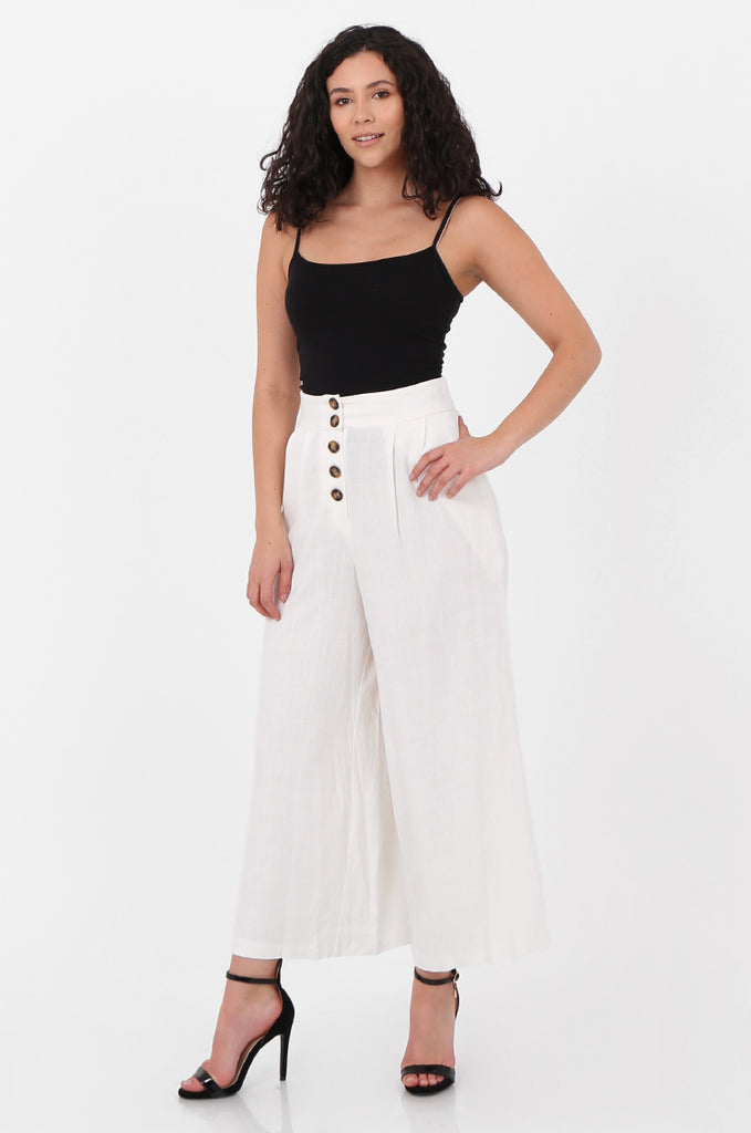 SOY2575-CREAM LINEN BLEND BUTTON FLY WIDE LEG TROUSERS view 2