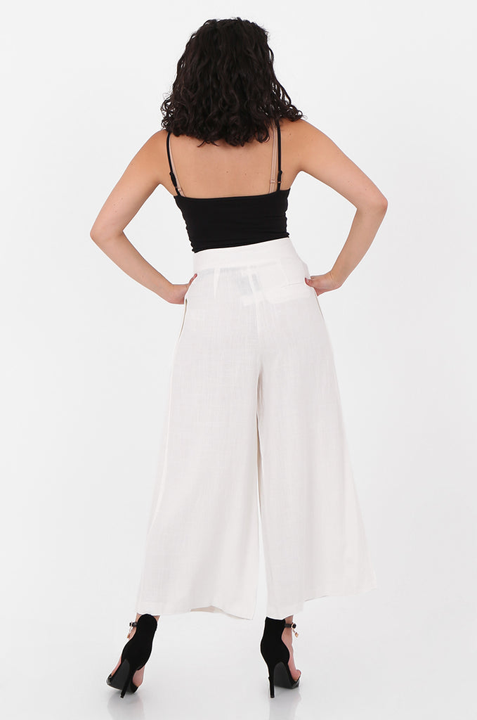 SOY2575-CREAM LINEN BLEND BUTTON FLY WIDE LEG TROUSERS view 3