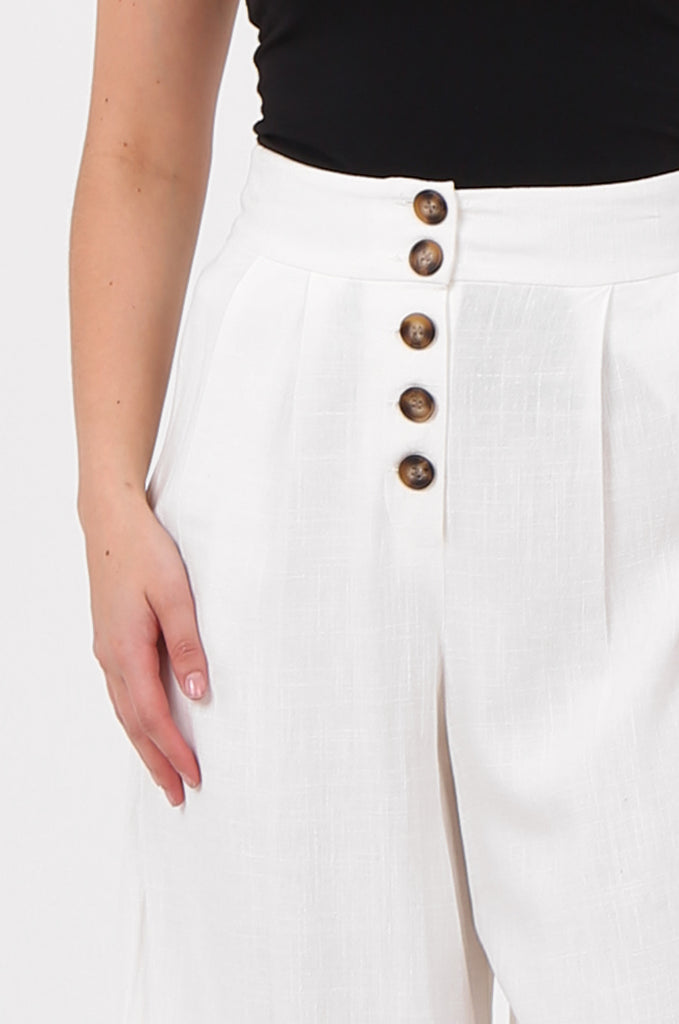 SOY2575-CREAM LINEN BLEND BUTTON FLY WIDE LEG TROUSERS view 4