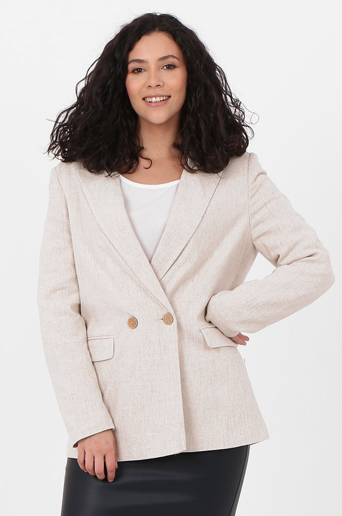 SOY2579-STONE LINEN BLEND DOUBLE BREASTED BLAZER