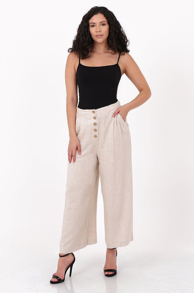 SOY2580-STONE LINEN BLEND WIDE LEG BUTTON DETAIL TROUSER