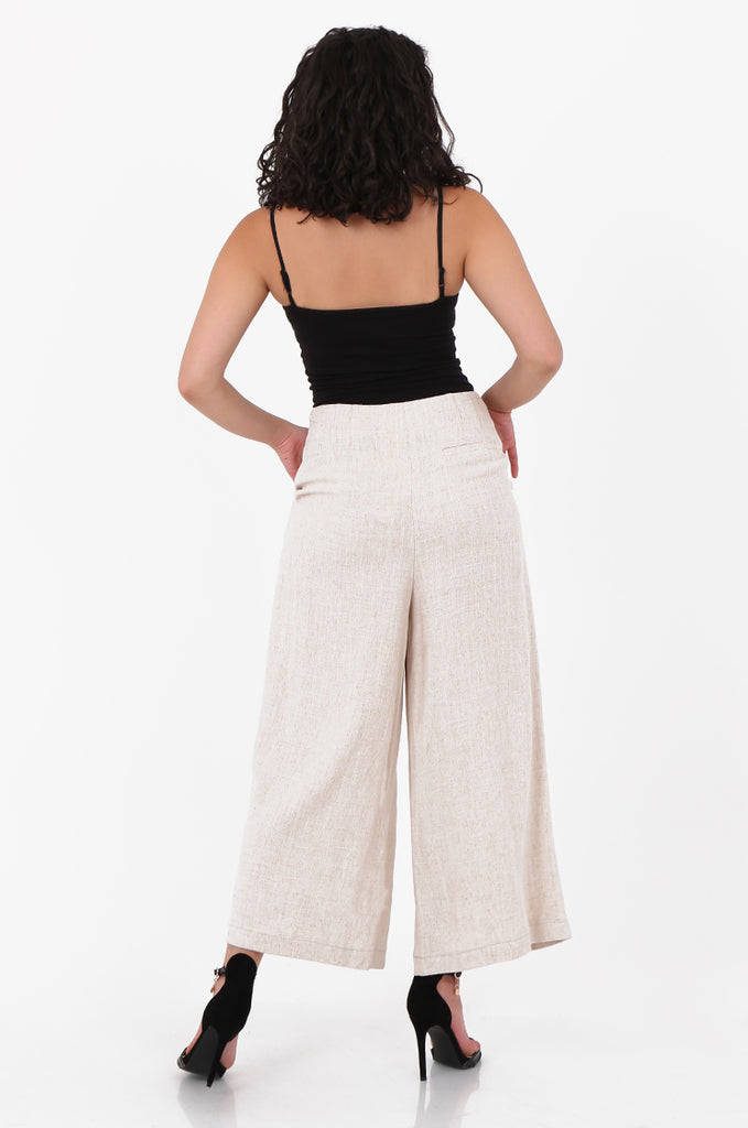 SOY2580-STONE LINEN BLEND WIDE LEG BUTTON DETAIL TROUSER view 3