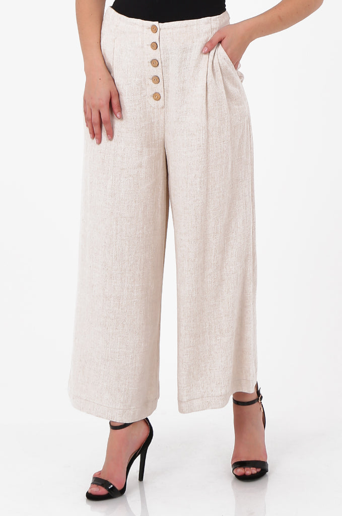 SOY2580-STONE LINEN BLEND WIDE LEG BUTTON DETAIL TROUSER view 4