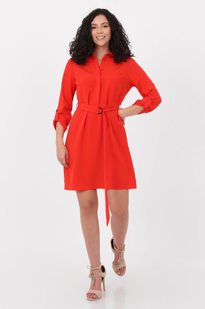 SOY2676-RED BELTED BUTTON FRONT SHIRT DRESS