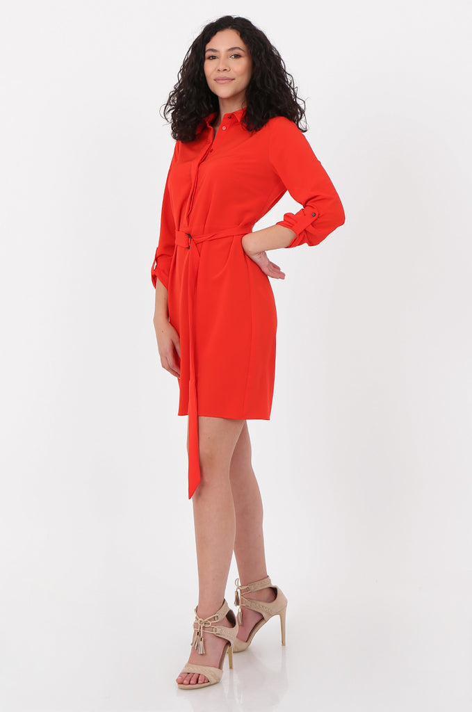 SOY2676-RED BELTED BUTTON FRONT SHIRT DRESS view 2