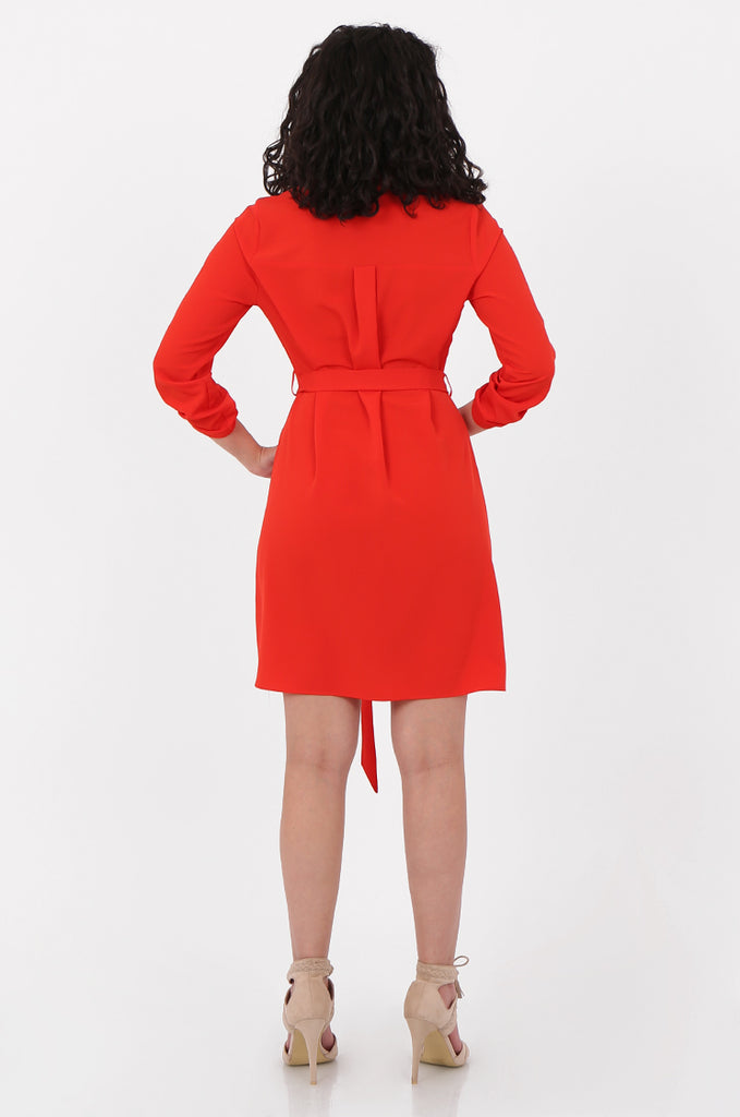 SOY2676-RED BELTED BUTTON FRONT SHIRT DRESS view 3