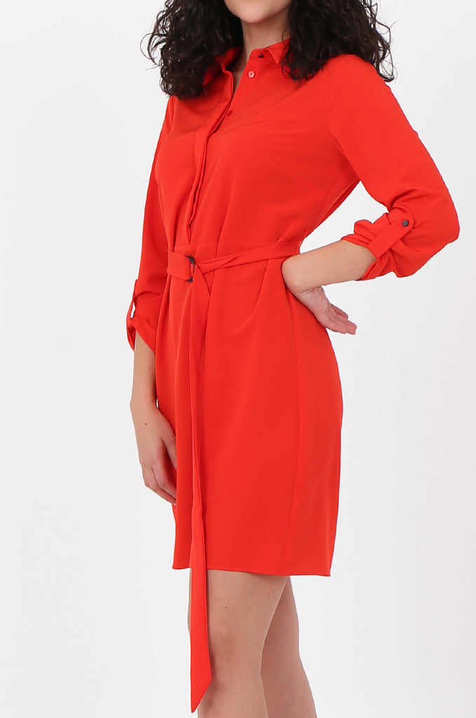 SOY2676-RED BELTED BUTTON FRONT SHIRT DRESS view 4