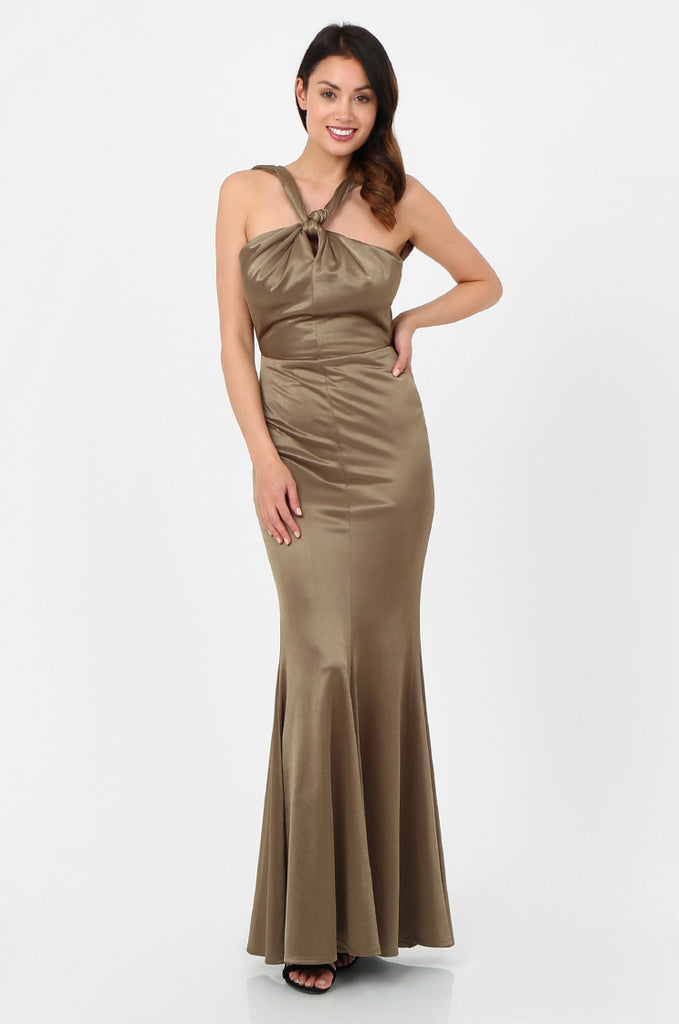 SOY2787-OLIVE SATIN KNOT FRONT FISHTAIL MAXI DRESS