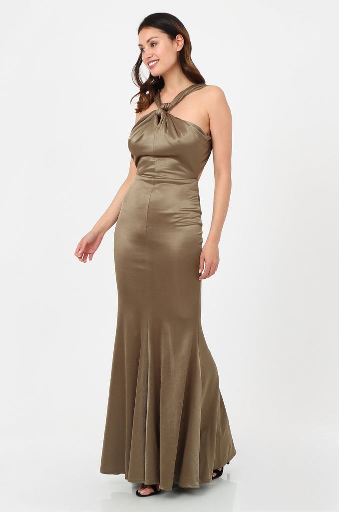 SOY2787-OLIVE SATIN KNOT FRONT FISHTAIL MAXI DRESS view 2