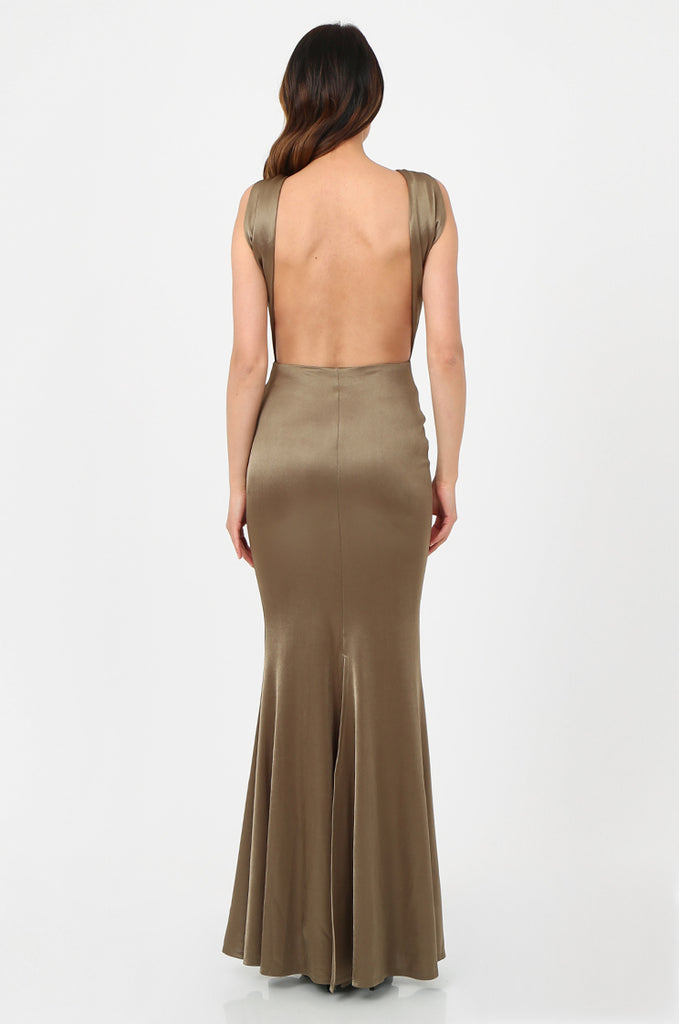 SOY2787-OLIVE SATIN KNOT FRONT FISHTAIL MAXI DRESS view 3